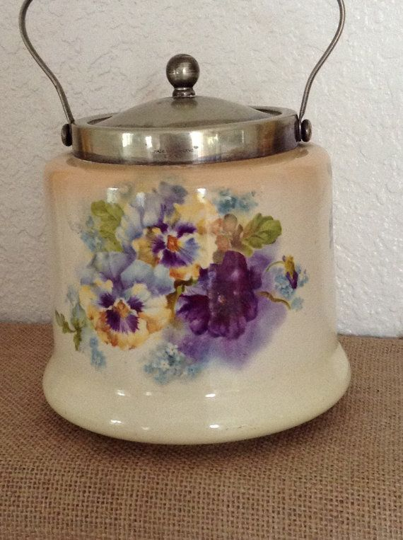 Vintage VICTORIAN PANSIES TEA Biscuit Jar by FRENCHPRAIRIECOTTAGE