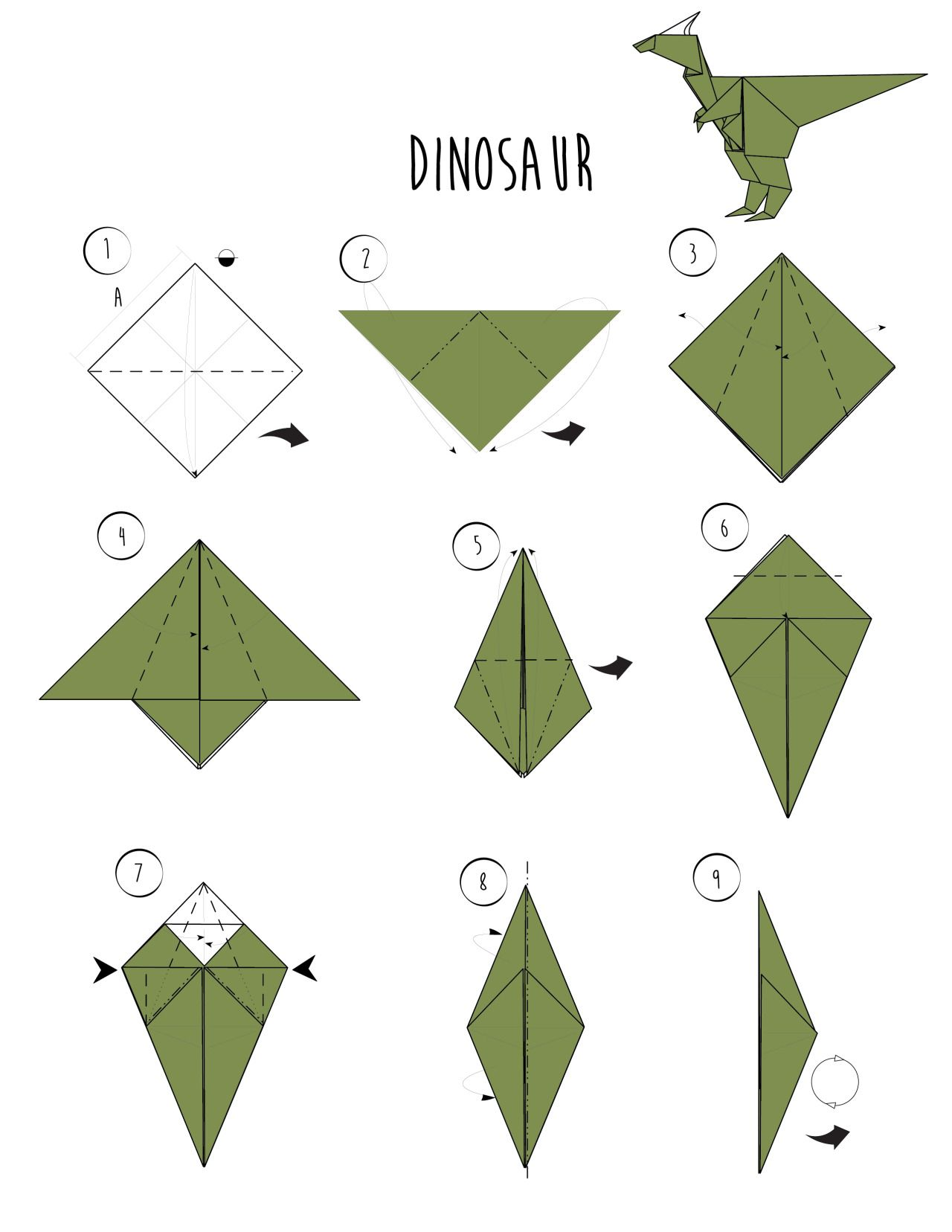 wikiHow — Rawr - Origami Dinosaur! And 2 More Ways to Make ... - photo#9