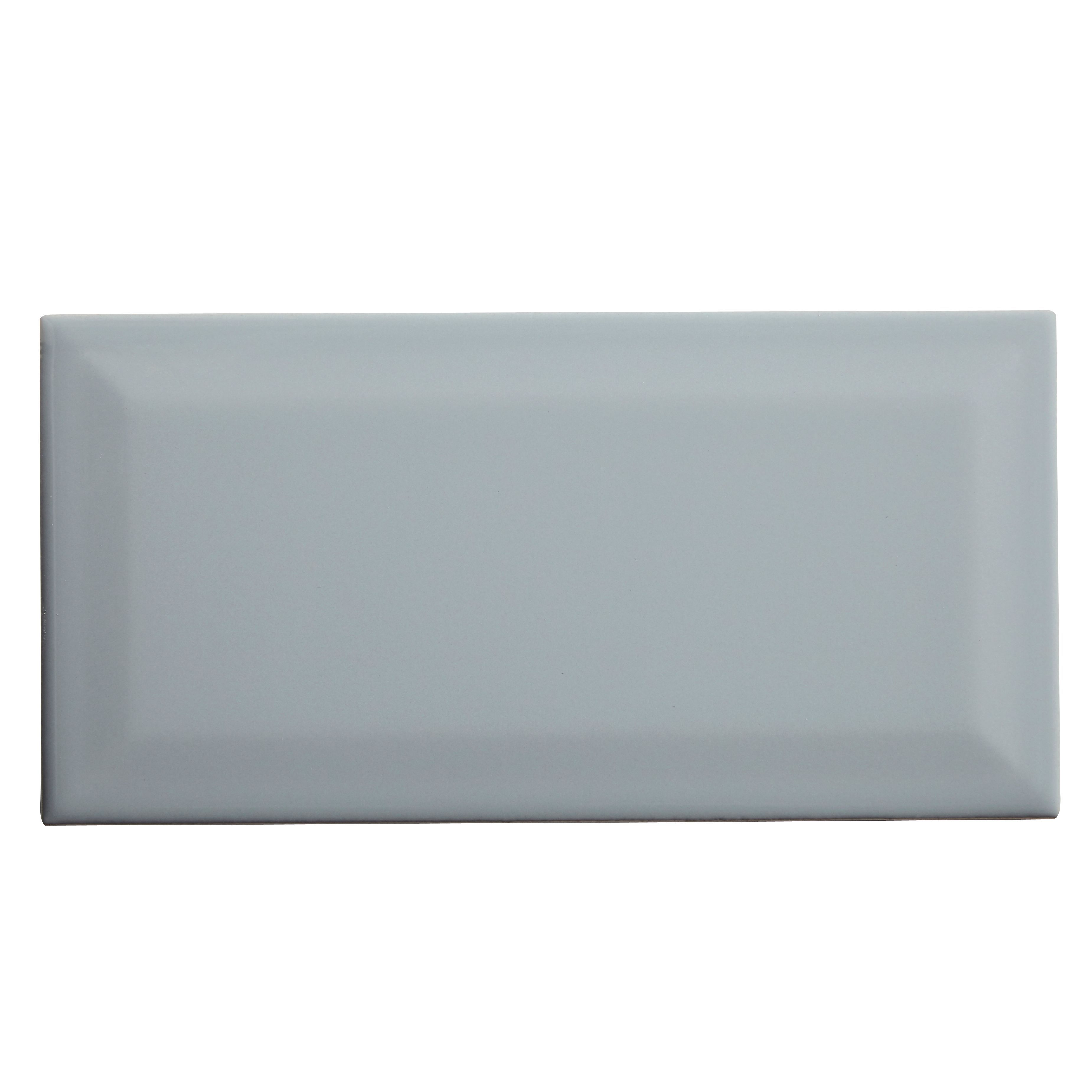 Trentie Grey Gloss Ceramic Wall tile, Pack of 40, (L)200mm (W)100mm