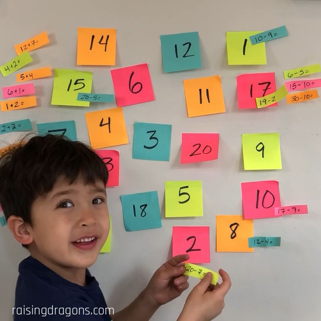 Here's a fun kindergarten math game that is a colorful and active way to learn math facts. #kindergarten #kindergartenmath #preschool