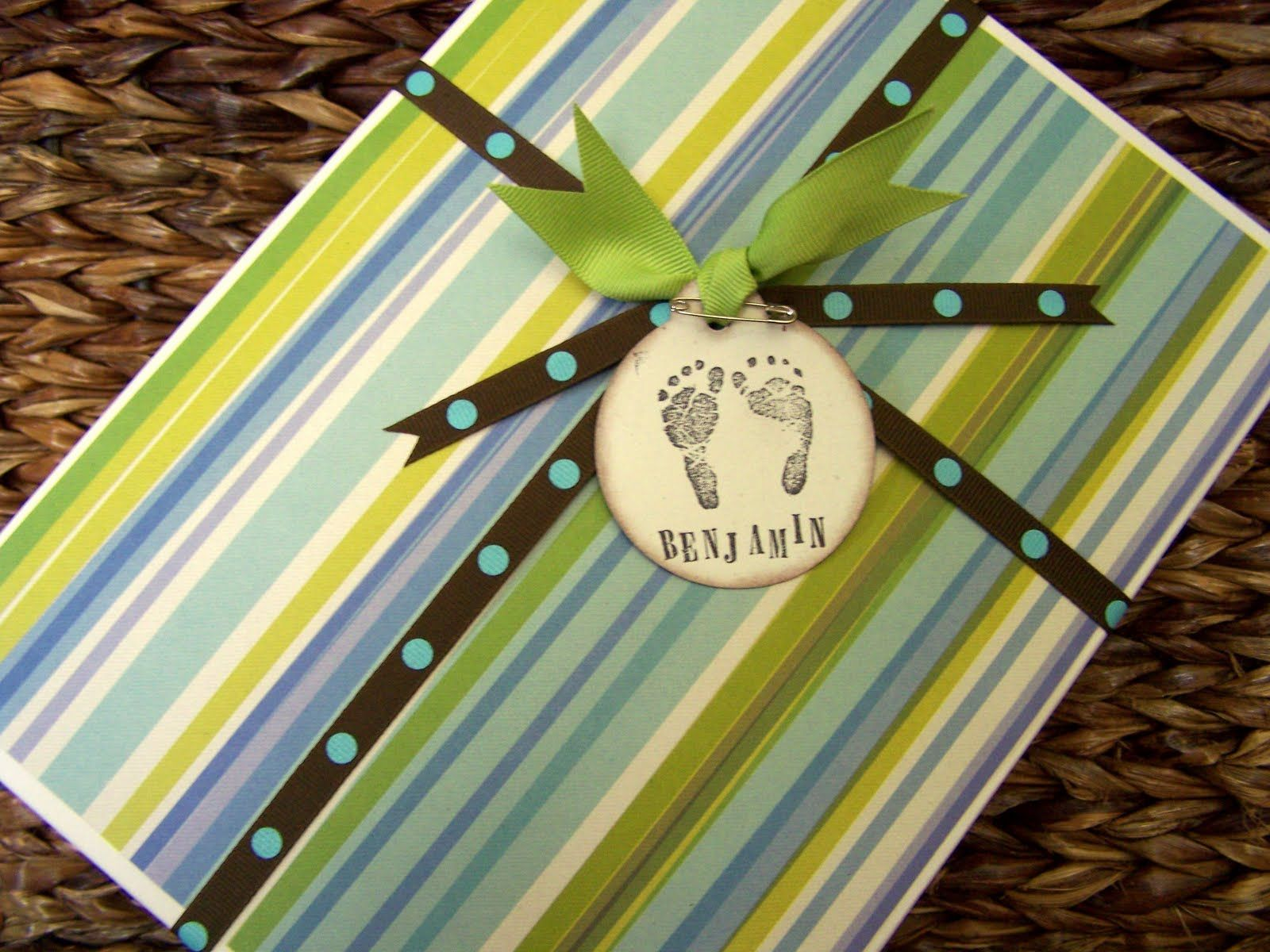 Scrapbook paper, white gift box, ribbon, tag.  No wrapping or wrapping paper involved.
