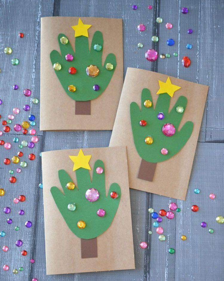 weihnachtskarten basteln mit kindern tannenbaum idee. Black Bedroom Furniture Sets. Home Design Ideas