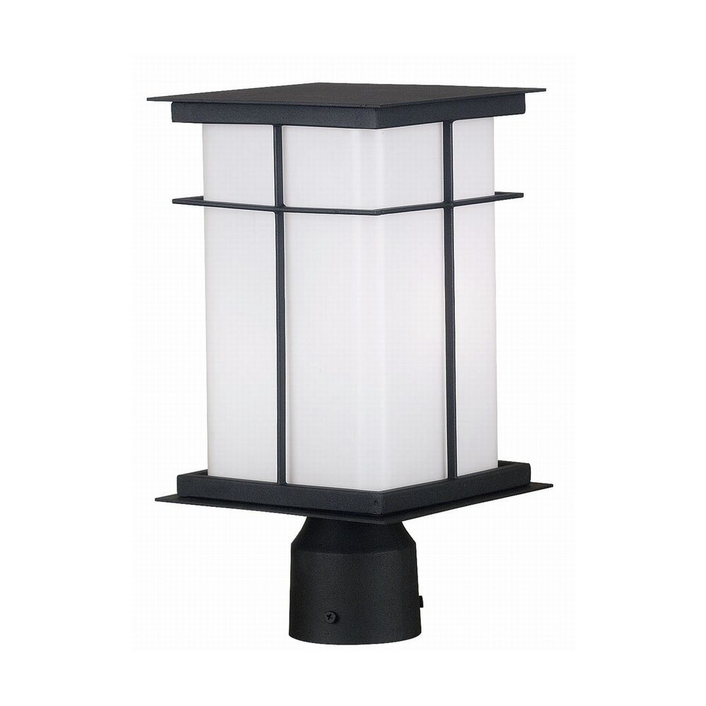 modern post light with white glass in textured black finish  - modern post light with white glass in textured black finish
