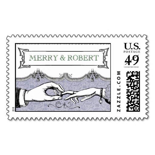 1900s Vintage Wedding Invitation Postage Stamps