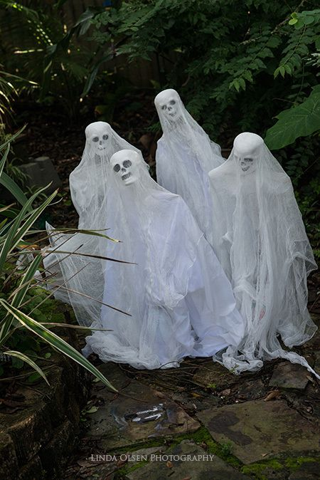 """My favorite holiday is around the corner and so I am getting my decor made. I used to have ghosts on strings flying from my backyard trees but this year I took them apart and made them out of gauze, wire, wood dowels, skulls , white glue and fabric. They are approx 28"""" tall. Spooky!!"""