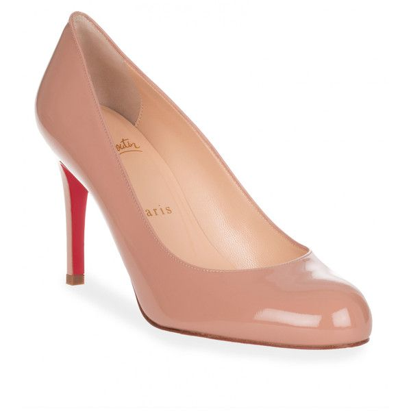10fef475eb0d5 Christian Louboutin Simple Pump 85 Patent Nude Pump ( 630) ❤ liked on  Polyvore featuring