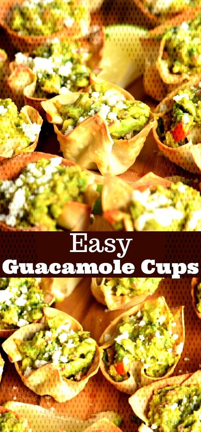 Guacamole Cups. Simple and tasty party appetizer. They are made with wonton wrappers, filled with h