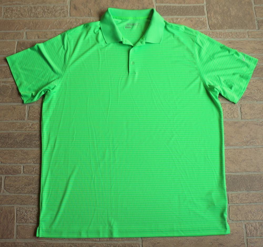 457577351 Nike Golf Dri Fit Tour Performance Polo Shirt Mens XXL Neon Green White  Stripe #NikeGolf #PoloRugby