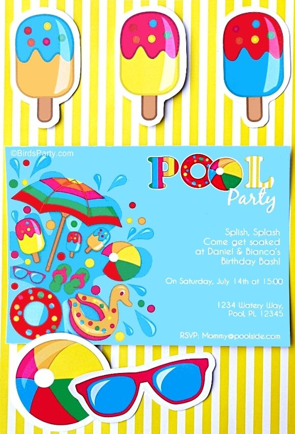 Pool party ideas kids summer printables en 2019 for Party in piscina