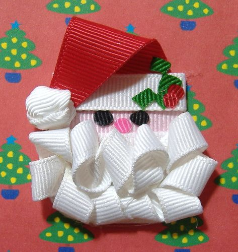 Santa Sculpted Ribbon Hair Clip, via Flickr.