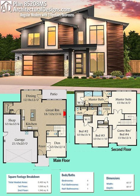 Plan 85208MS Angular Modern with 3 Upstairs Bedrooms in 2018