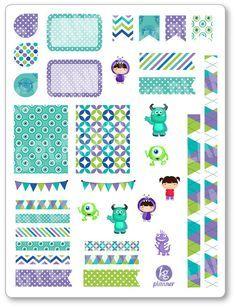 Monster Friends Decorating Kit / Weekly Spread Planner Stickers for Erin Condren Planner, Filofax, Plum Paper