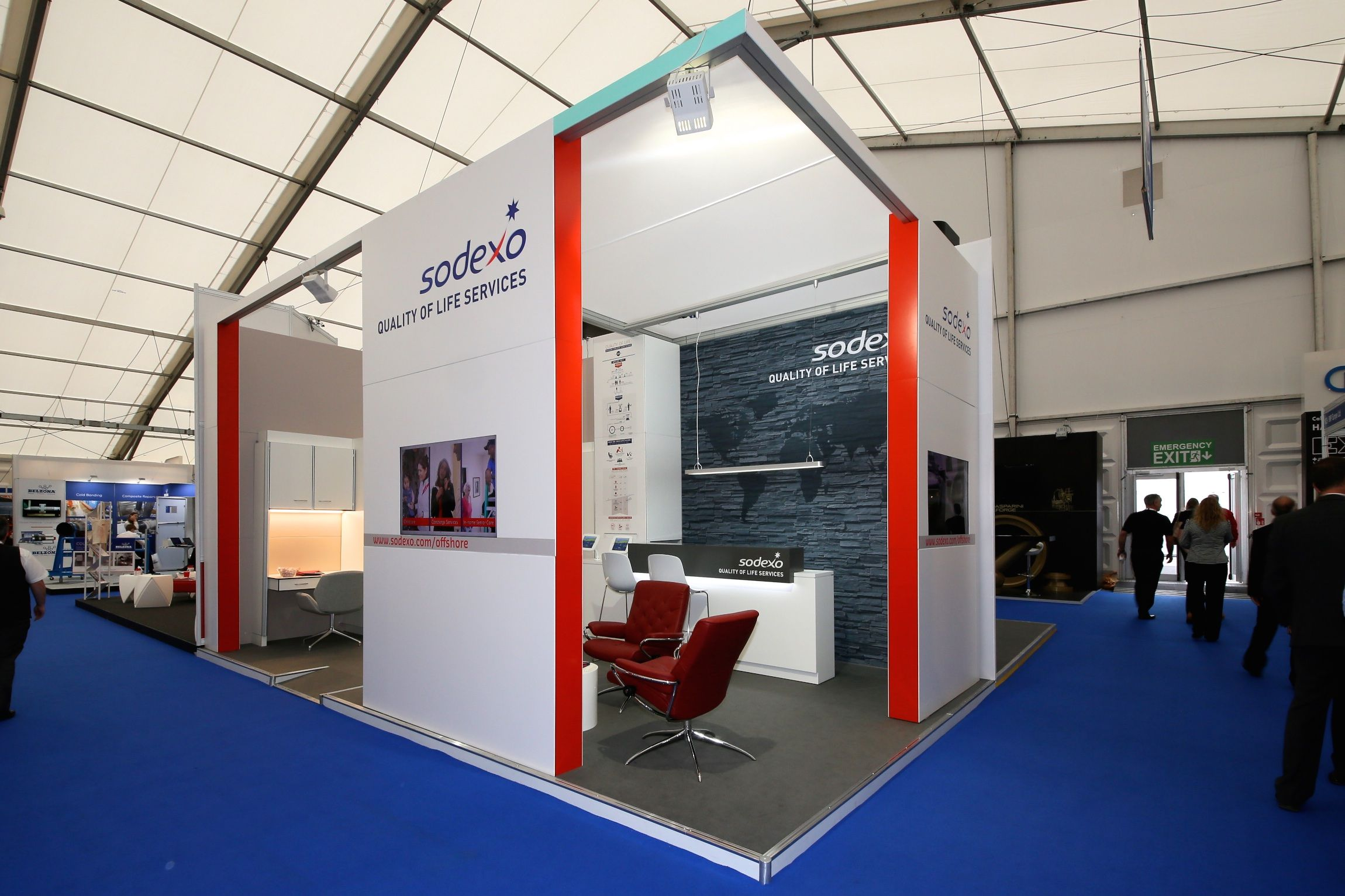 Exhibition Stand Work : Sodexo remote sites exhibition stand at spe offshore