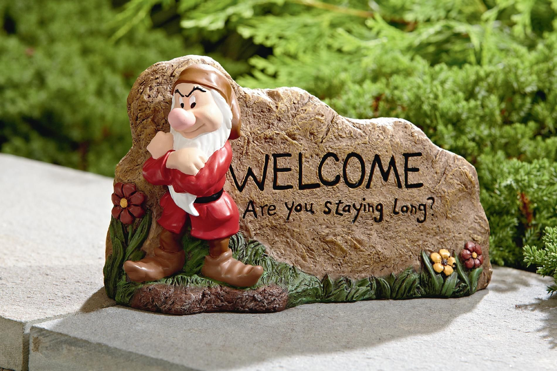 Disney GRUMPY GARDEN ROCK, WELCOME - Outdoor Living - Outdoor Decor ...