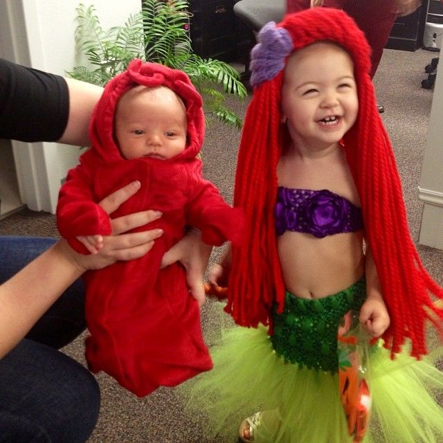 ariel the little mermaid and sebastion the crab baby and toddler costumes mermaid and wig