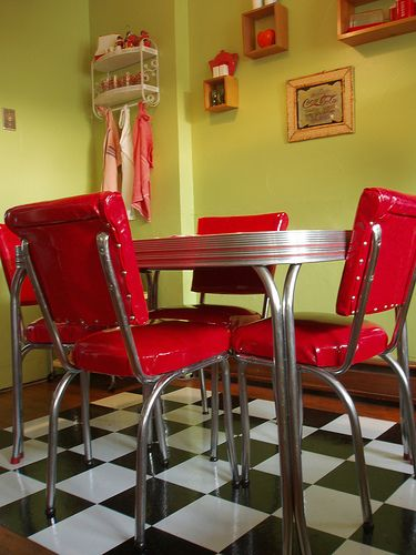 Love The Retro Dining Set, Checkered Floor. The Green Walls.