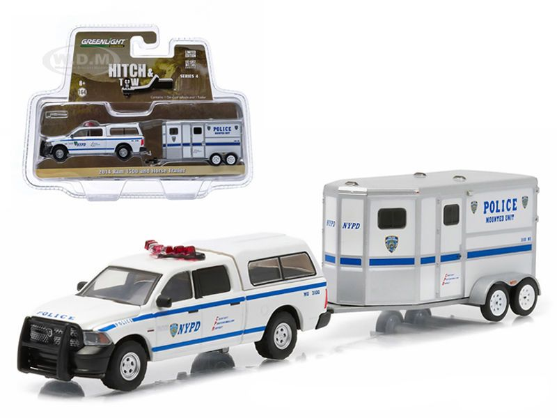 diecastmodelswholesale - 2014 Dodge Ram 1500 NYPD Pickup Truck and NYPD Horse Trailer Hitch