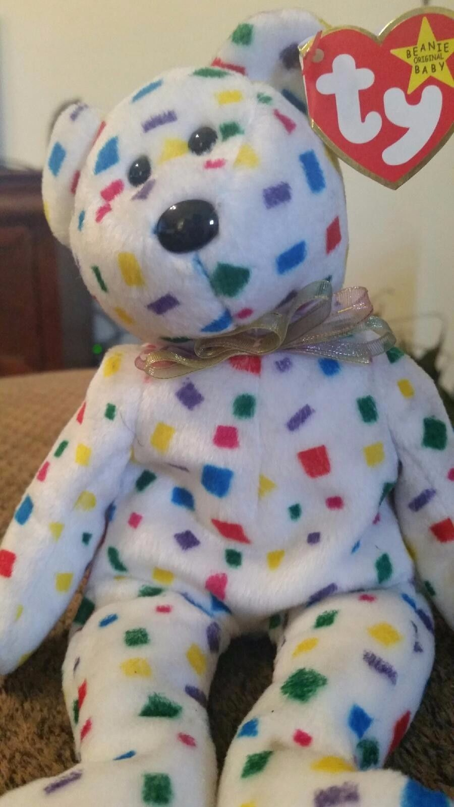 5da73eb091a Beanie Babies TY 2K Confetti TEDDY BEAR 1999 2000 Original RETIRED ...