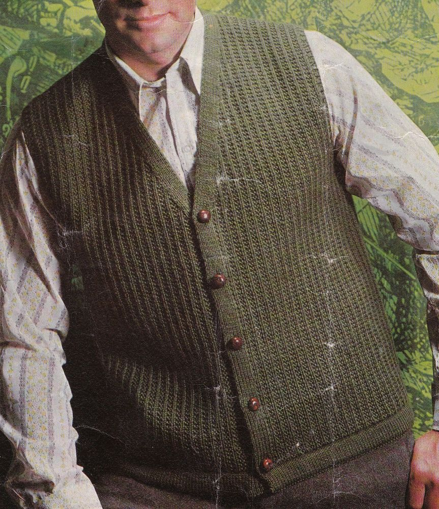 Vintage Knitting Pattern Instructions to Make a Mens Waistcoat in ...