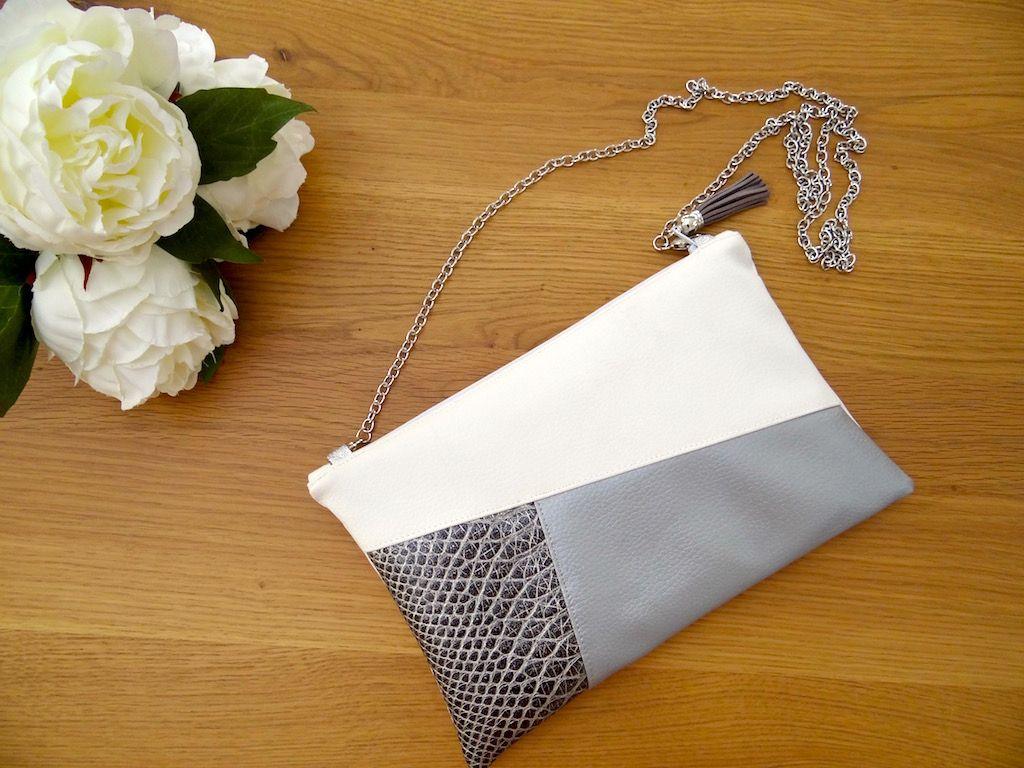 pochette charlotte simili cuir dragon gris et blanc id e couture pinterest simili cuir. Black Bedroom Furniture Sets. Home Design Ideas