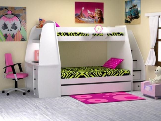 Bedroom:Cool Girls Bunk Bed With Stairs And Desk Bunk Bed ...