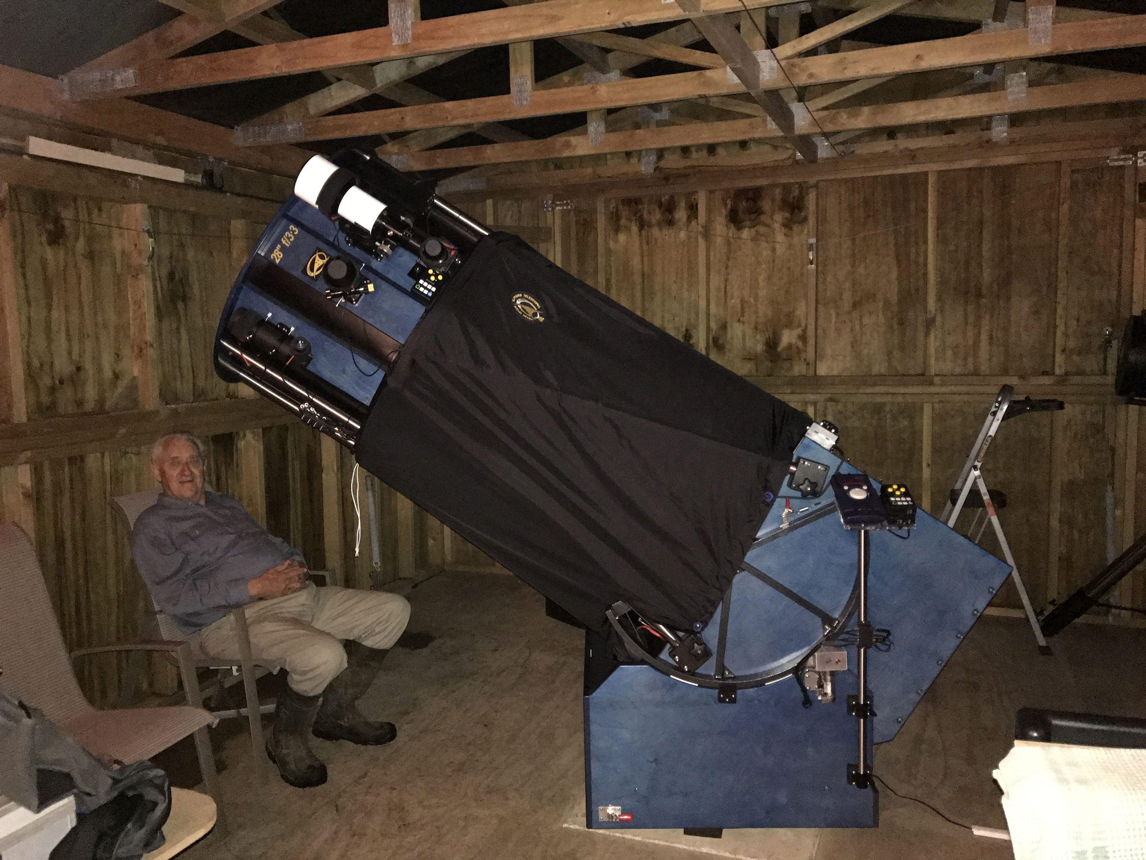 "Me sitting beneath my 28"" f 3 3 SDM telescope Mirror by Mike"