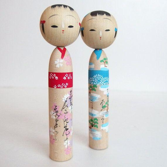 Mint Condition Antique Kokeshi Dolls. by JapaneseKokeshiDolls