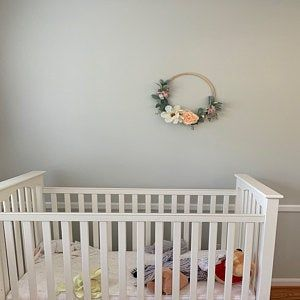 Photo of Floral hoop wreath, Modern fall wreath, Spring hoop wreath, Blush Nursery decor, Modern Nursery, gift for mother, Boho Nursery Decor