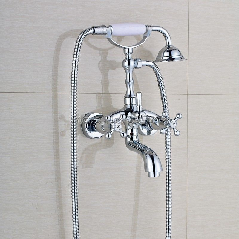 NEW Chrome Finish Wall Mounted Bathroom Shower Faucet Dual Handle ...