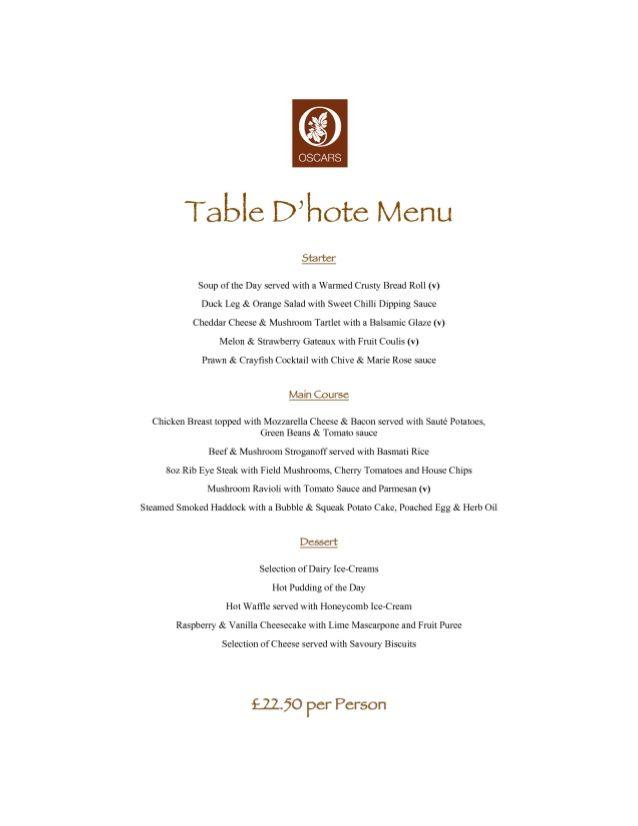 Table D Hote 4 Diner Menu Menu Meal Planner Printable Free