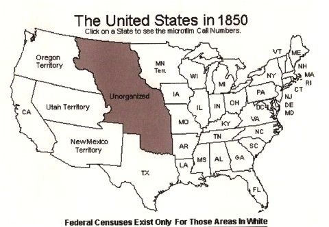 1850 Usa Census Map Genealogy Family History Family Genealogy