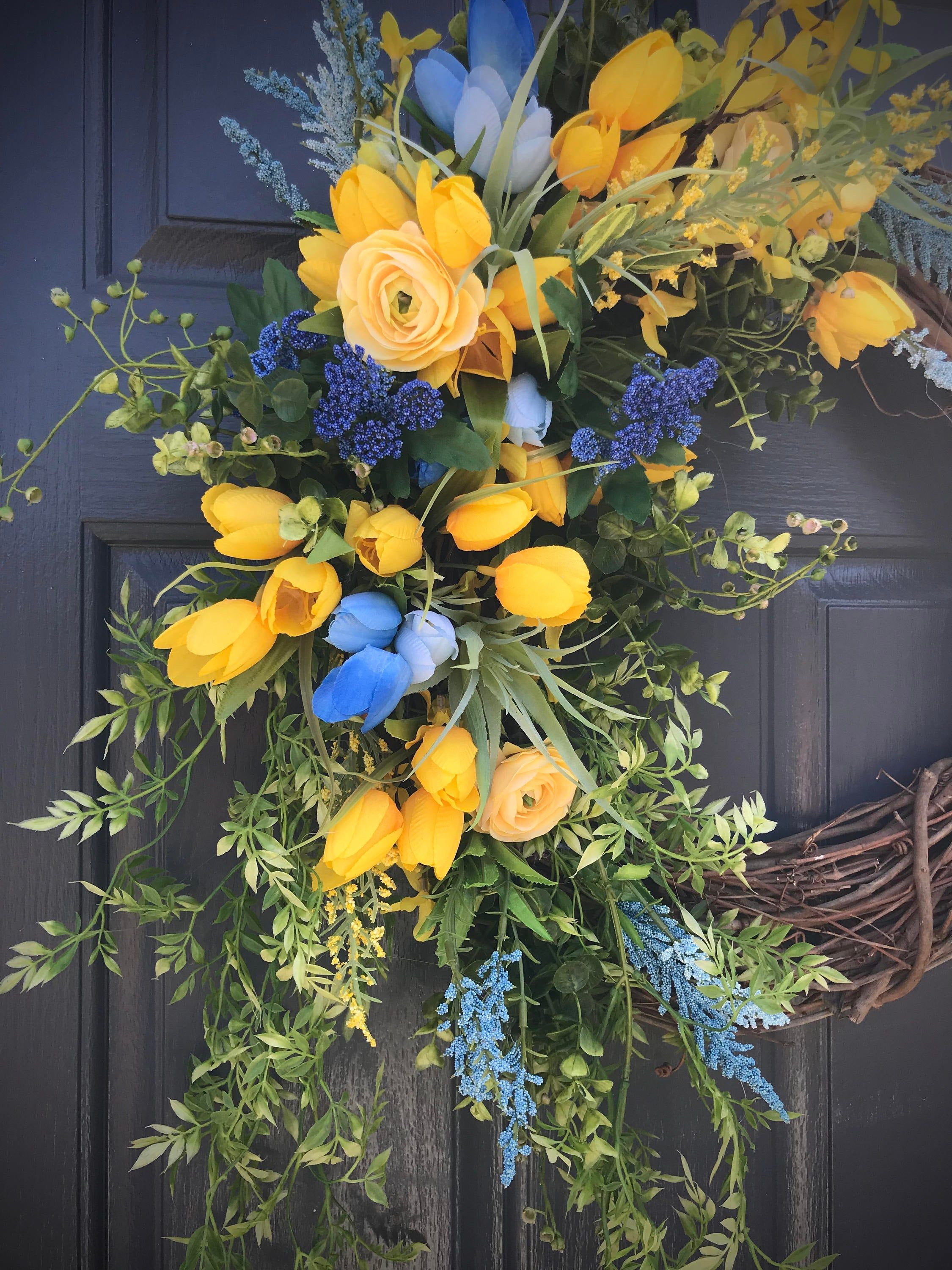 Photo of Blue Yellow Spring Wreath, Spring Wreaths, Spring Door Wreaths, Yellow Blue Wreath, Tulip Wreaths, Door Decor Spring, Gift for Her, Wreaths