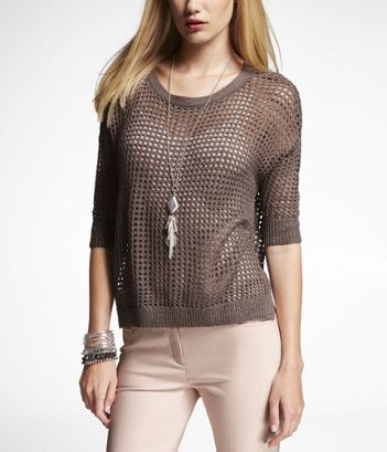 Lurex Mesh Sweater in Brown by Express