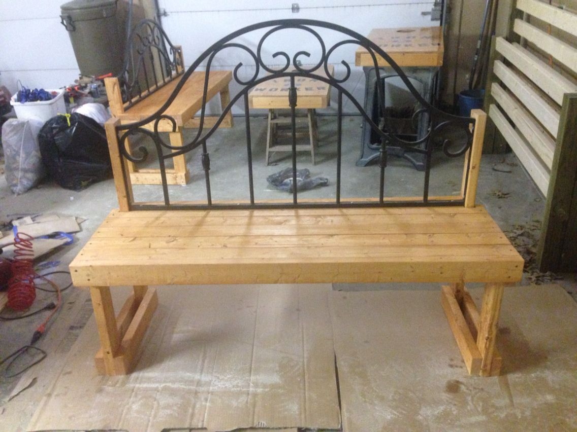 Bench with rod iron headboard from bed Iron headboard