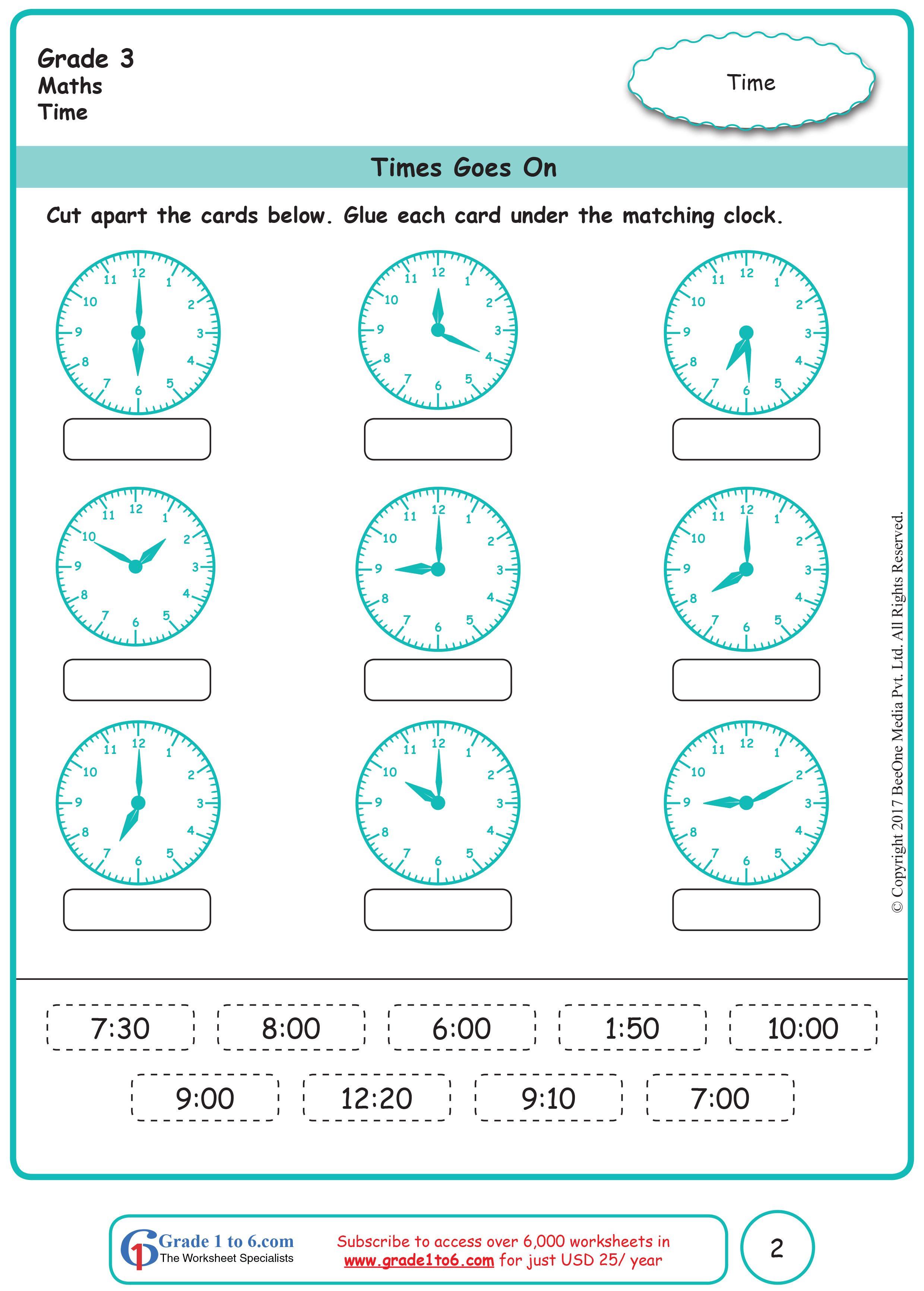 Time Grade 3 Worksheets   Kids math worksheets [ 3464 x 2480 Pixel ]