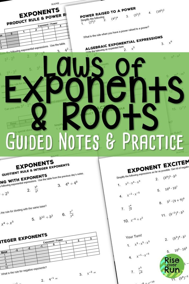 Laws of Exponents Notes and Practice How to memorize