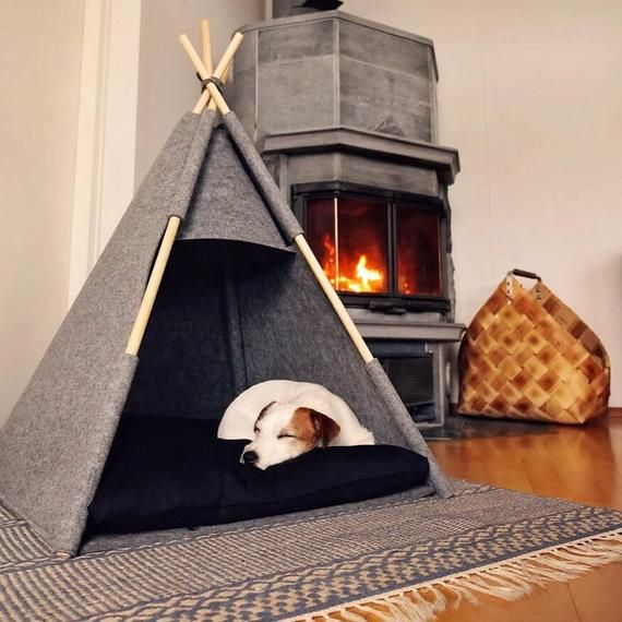 Pet bed Teepee house Gray Black pillow Puptent soft eco-friendly felt of a strong form cozy place relax House bunny bed Pets dog cat rabbit