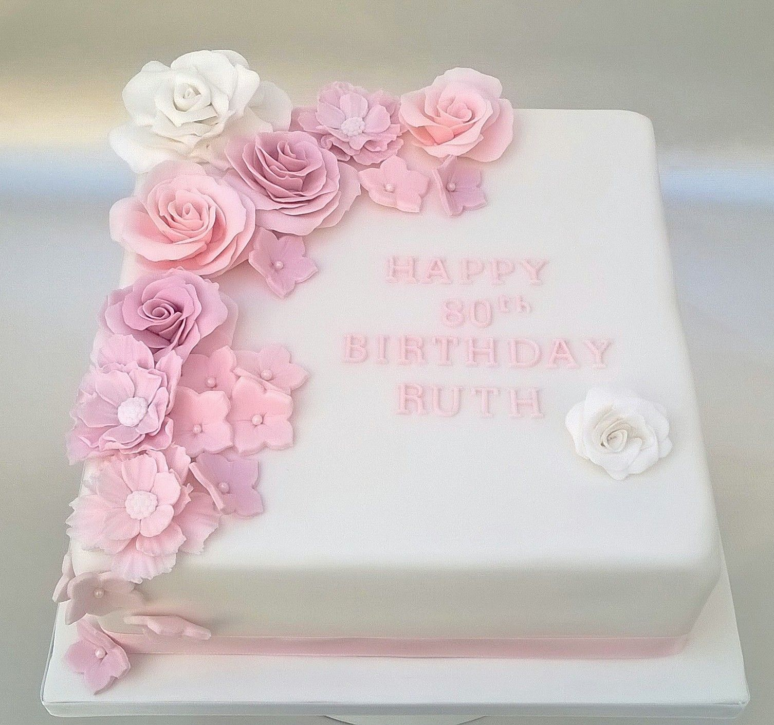 Miraculous 80Th Birthday Cake With Pink Gumpaste Flowers 80 Birthday Cake Funny Birthday Cards Online Hendilapandamsfinfo