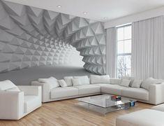Kleines Wohnzimmer Modern Gestalten Mit Perspektive Fototapete In Weiß