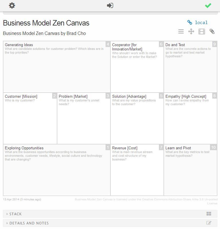 Business Model Zen Canvas Is Loaded As A Master Template On Bm