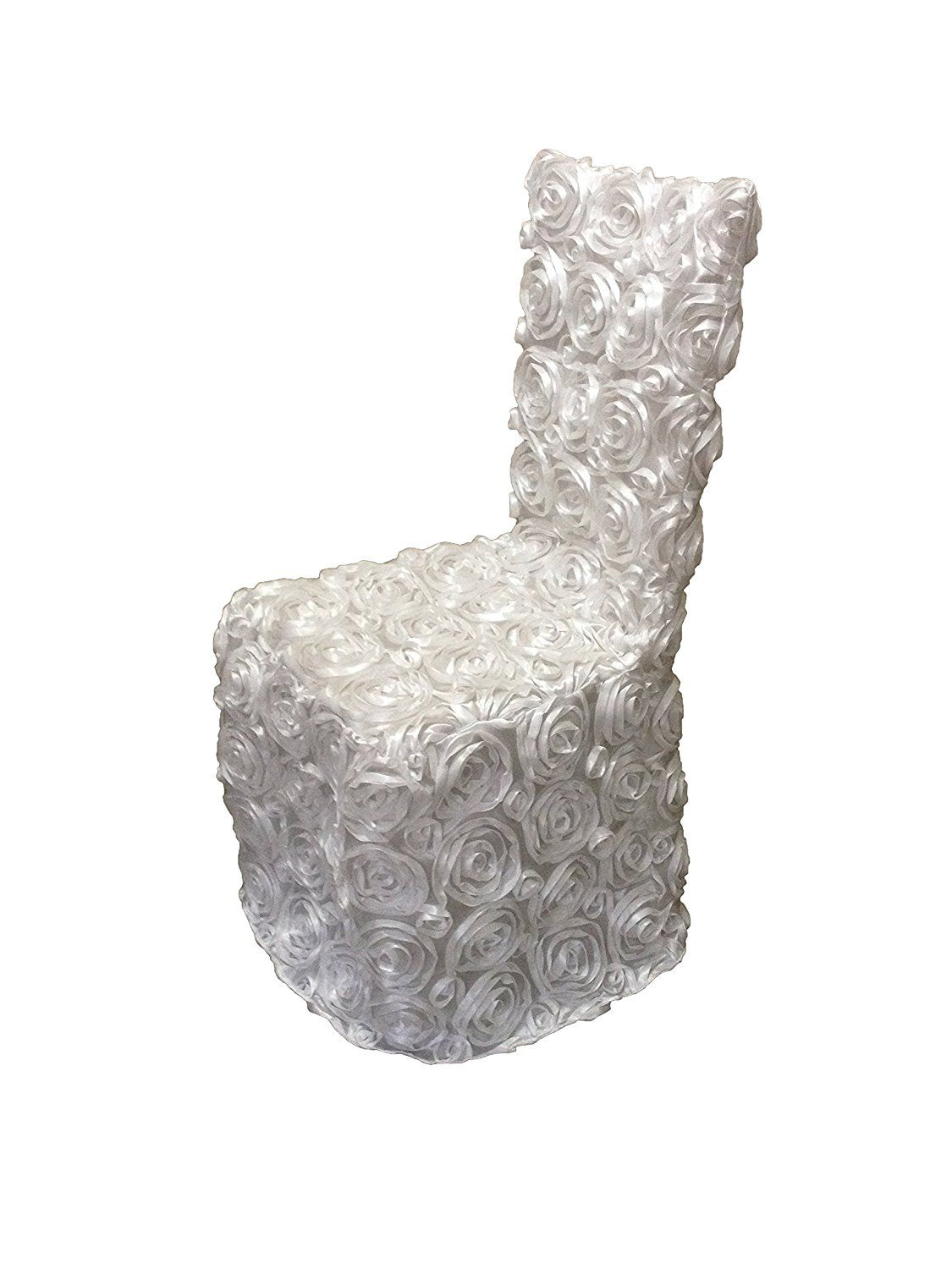 LuChuan White Rosette Banquet Chair Cover For