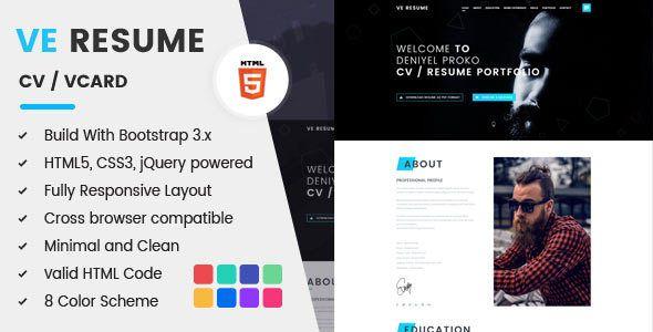 Resume Html Template Ve Resume  Cv  Resume & Portfolio Html5 Template Cvresume