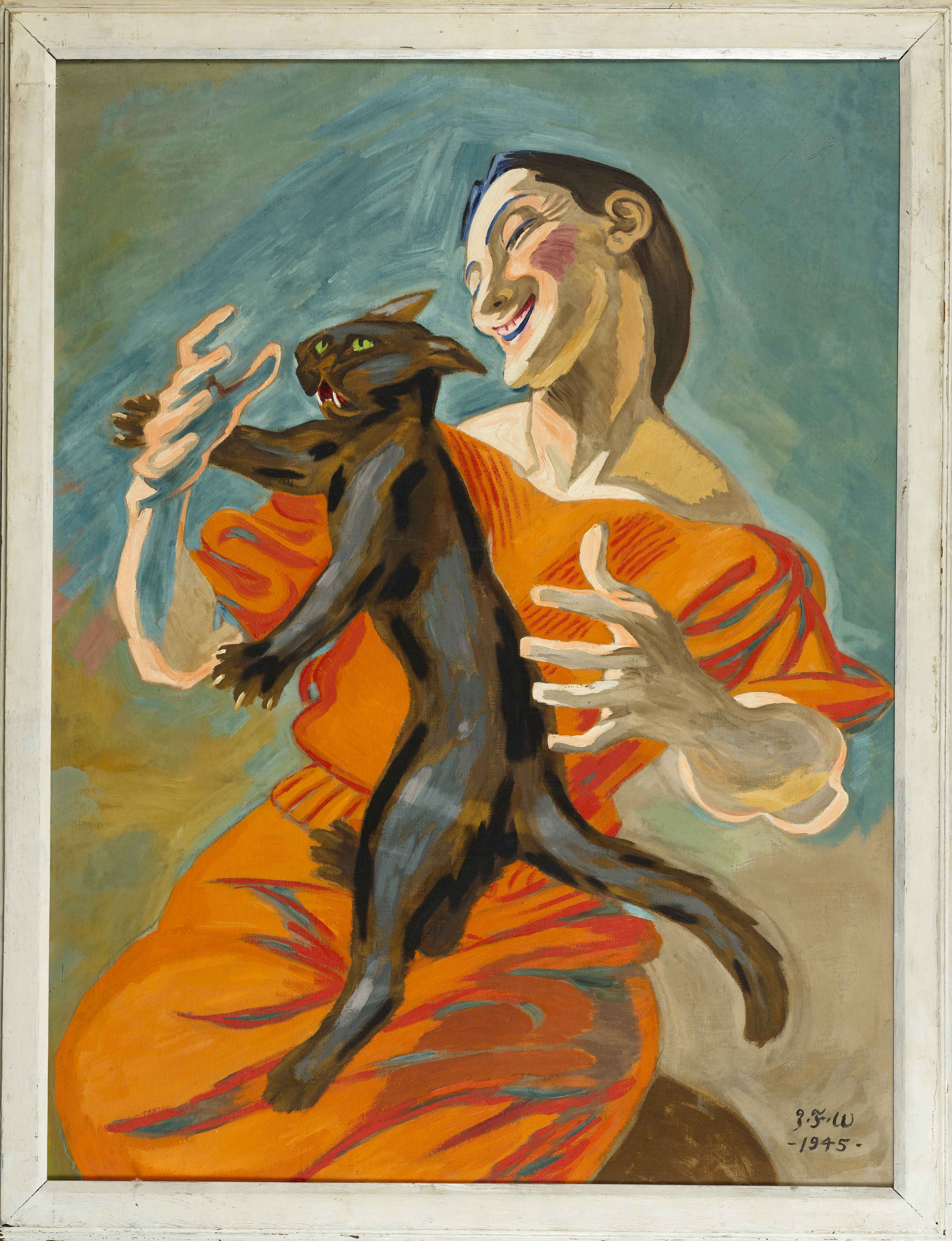J. F. Willumsen Woman Playing With Black Cat, 1945. Jens