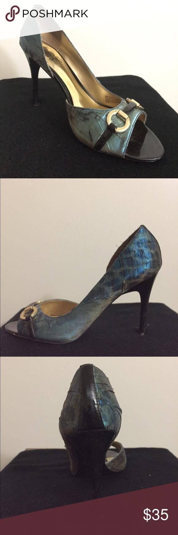 Carlos Santana Iridescent Blue Pumps Iridescent Blue and Leopard print pumps. Great condition. Carlos Santana Shoes Heels