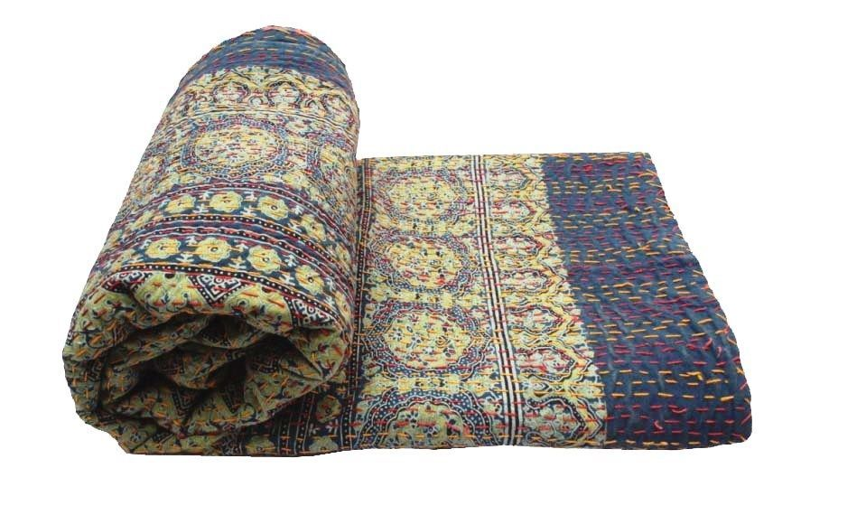 Indian Ajarkh Bedding Bedspread Cotton Kantha Quilt Throw Reversible Coverlets