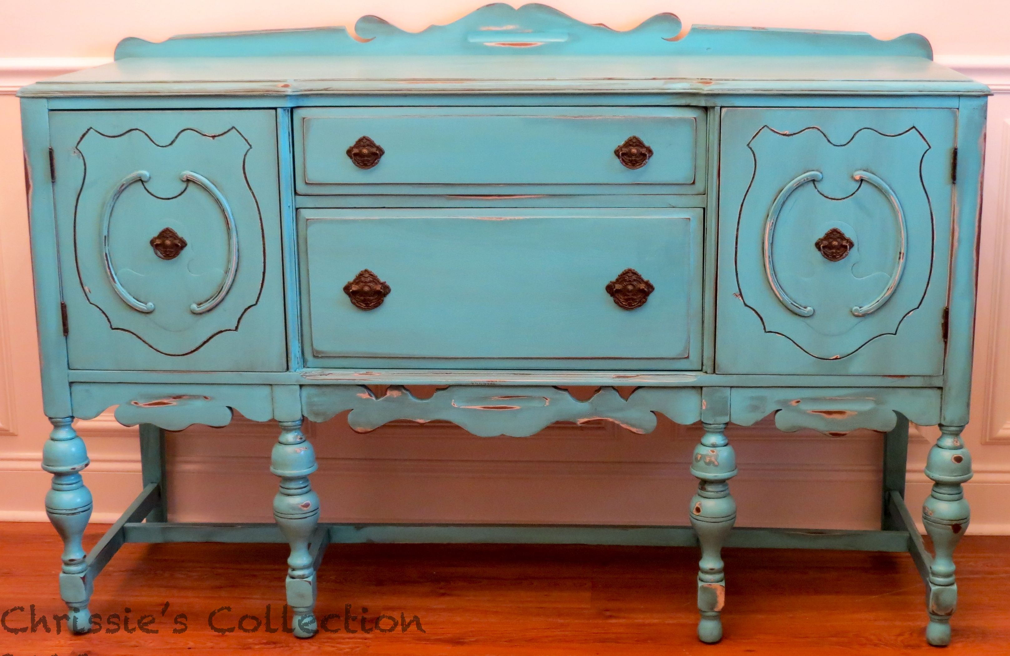Distressed Turquoise buffet. Coming soon to The Plucky Peacock!