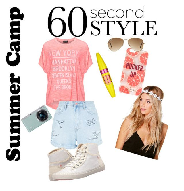 """Untitled #8"" by zoethedreamer2001 ❤ liked on Polyvore featuring Replace, New Look, Kate Spade, Boohoo, Samsung, Maybelline, Roxy, Ray-Ban and 60secondstylesummercamp"