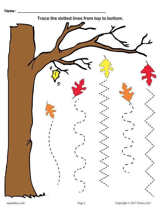 Fall Themed Line Tracing Worksheet With Random Lines
