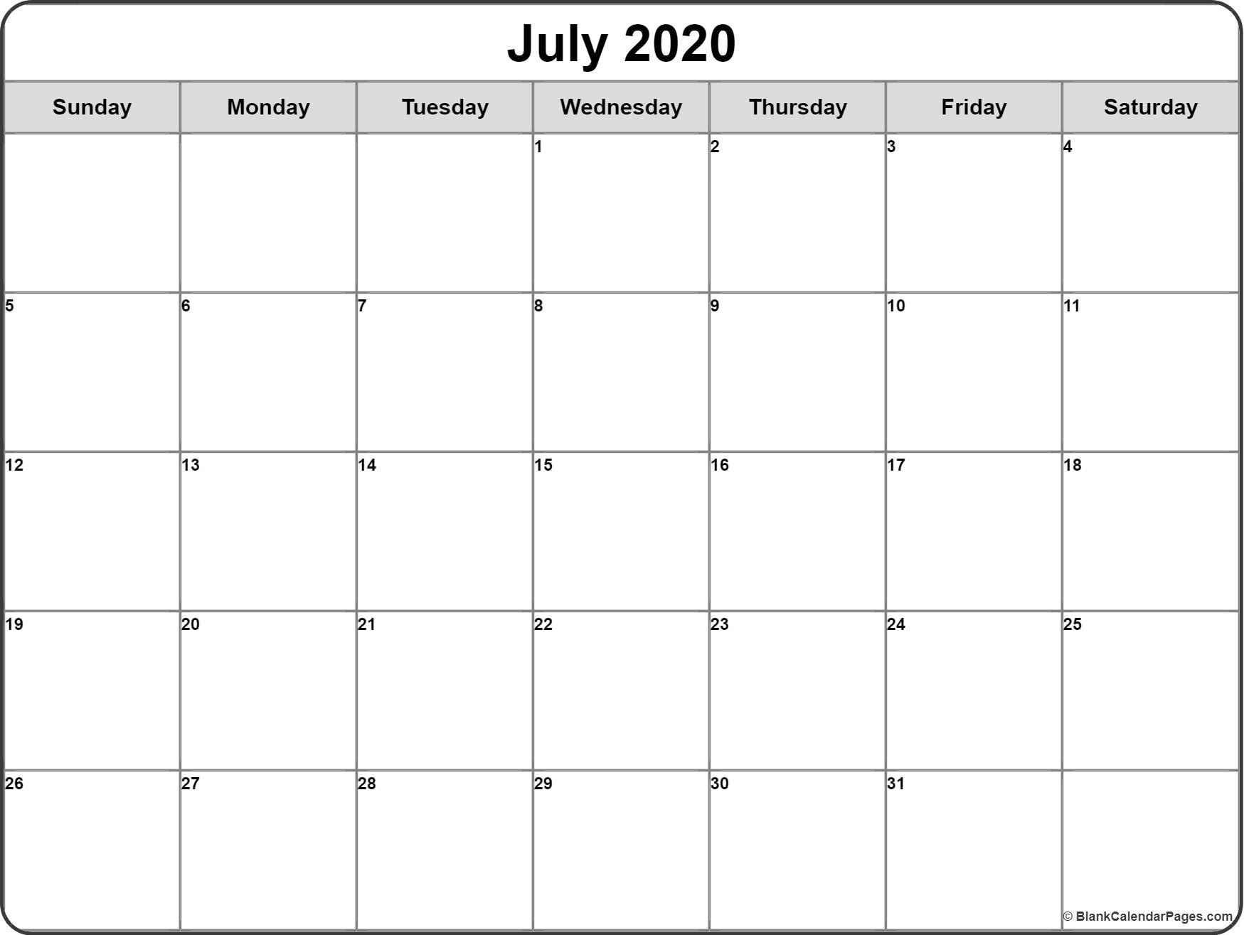 July 2020 Calendar Free Printable Monthly Calendars Free Printable Calendar Monthly Monthly Calendar Template Calendar Printables