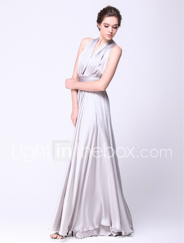 A-Line Straps Floor Length Satin Chiffon Prom Formal Evening ...